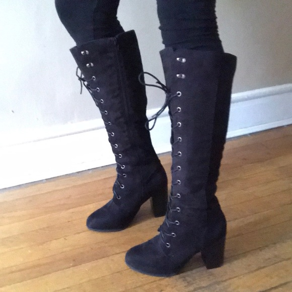 Target Faux Suede Lace Up Tall Boots
